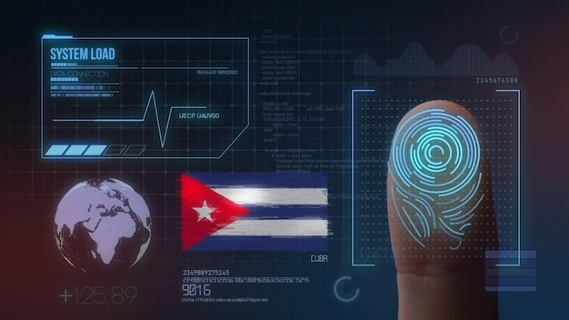 Finger print biometric scanning identification system. cuba nationality Premium Photo