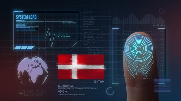 Finger print biometric scanning identification system. denmark nationality Premium Photo
