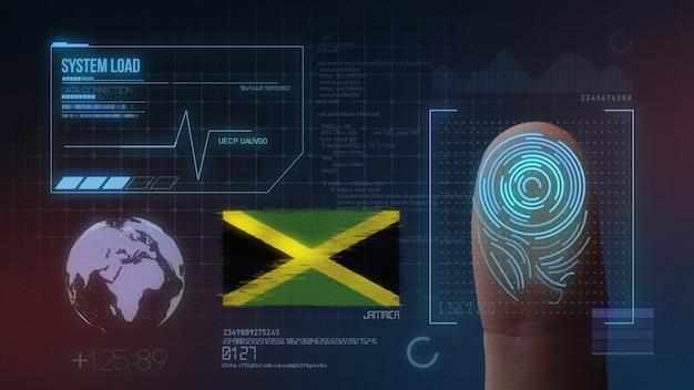 Finger print biometric scanning identification system. jamaica nationality Premium Photo
