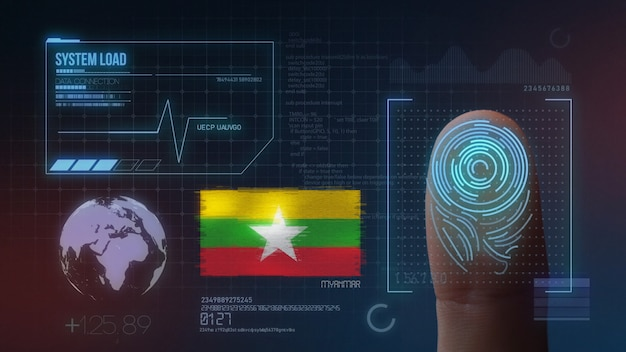 Finger print biometric scanning identification system. myanmar nationality Premium Photo
