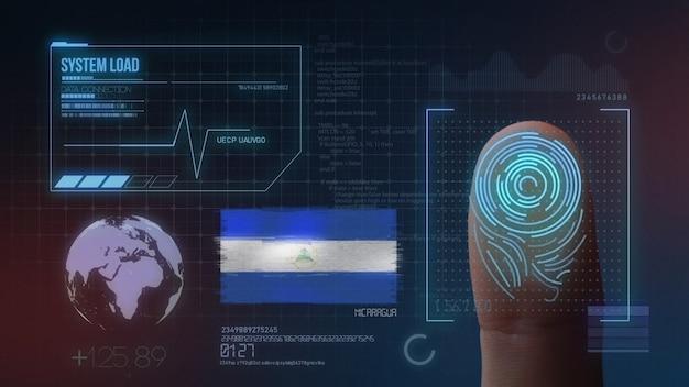 Finger print biometric scanning identification system. nicaragua nationality Premium Photo