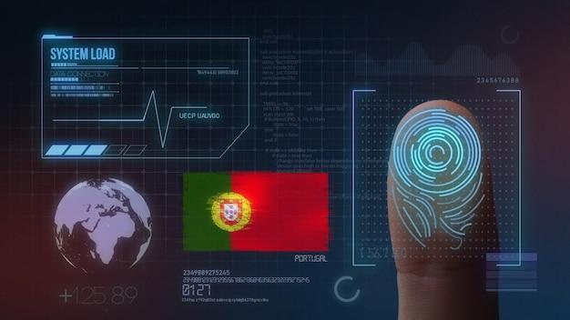 Finger print biometric scanning identification system. portugal nationality Premium Photo