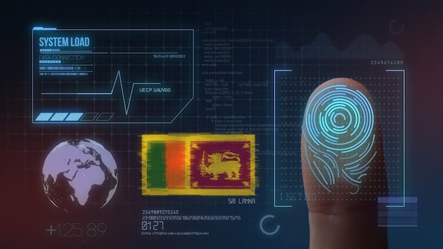 Finger print biometric scanning identification system. sri lanka nationality Premium Photo