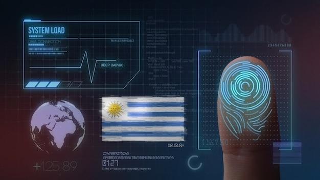 Finger print biometric scanning identification system. uruguay nationality Premium Photo