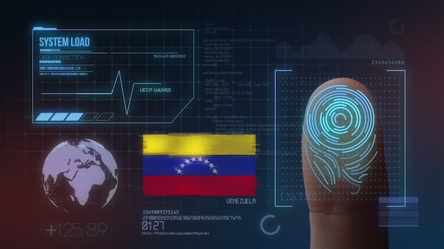 Finger print biometric scanning identification system. venezuela nationality Premium Photo