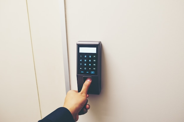 Finger print scan for enter security system with copyspace. Premium Photo