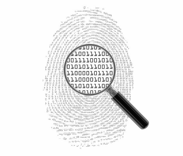 Fingerprint with binary code Premium Photo
