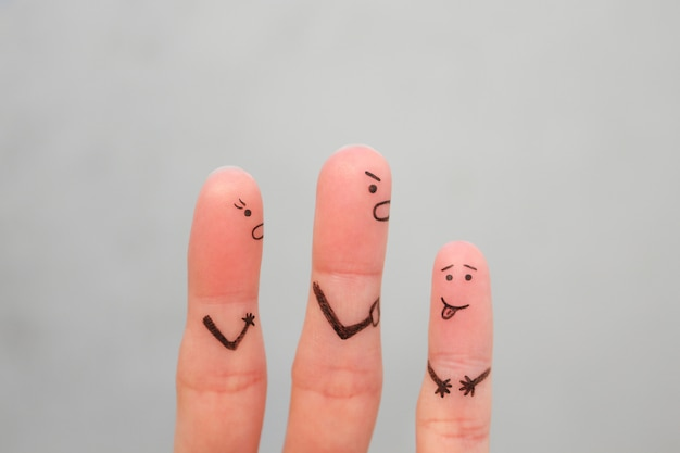 Fingers art of family during quarrel. concept of parents scold naughty child. Premium Photo