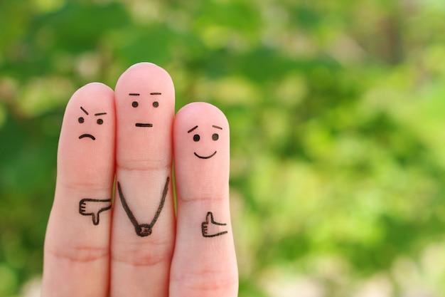 人々の指の芸術。ポジティブな感情とネガティブな感情の概念。 Premium写真