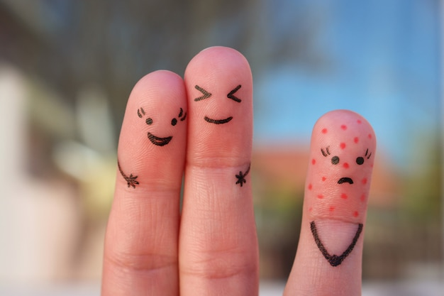 Fingers art of people. concept of loneliness, allocation from crowd. Premium Photo