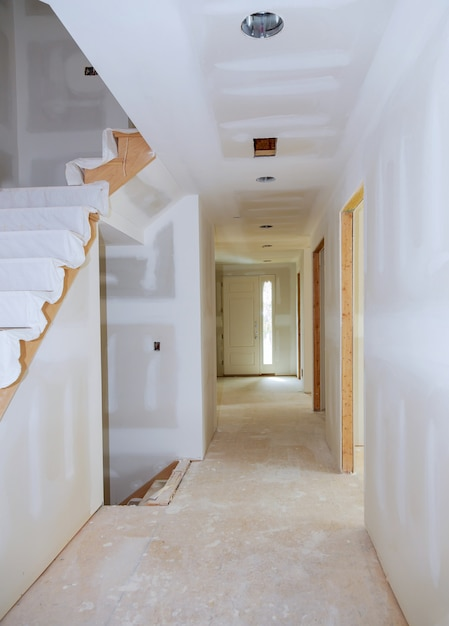 Finished sheetrock in new home construction Premium Photo
