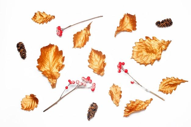 黄金のオークの葉、赤い果実、白い背景の上のfirコーン。秋の気分。 Premium写真