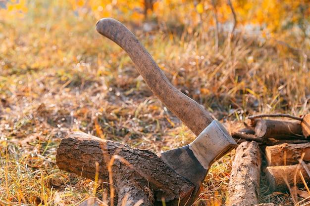 Fireと木のa。 x包丁とlot、木、森、スプリット、カット、燃料、仕事、産業、素材、原材料、熱、再生可能、鋸、林業、耐切断性 Premium写真