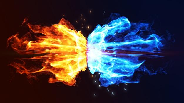 Огонь и лед концепция с искрой. 3d. Premium Фотографии