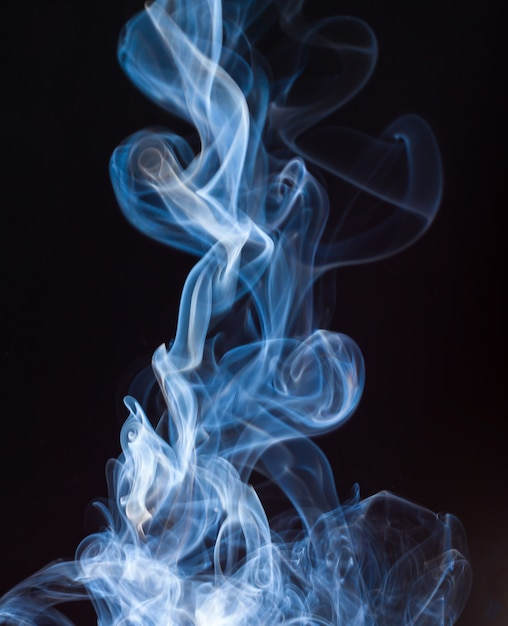Fire Of Blue And White Smoke Abstract On Black Background