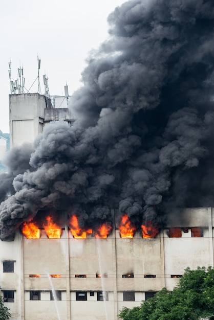 A fire broke out in the warehouse and the fire brigade was putting out the fire. Premium Photo