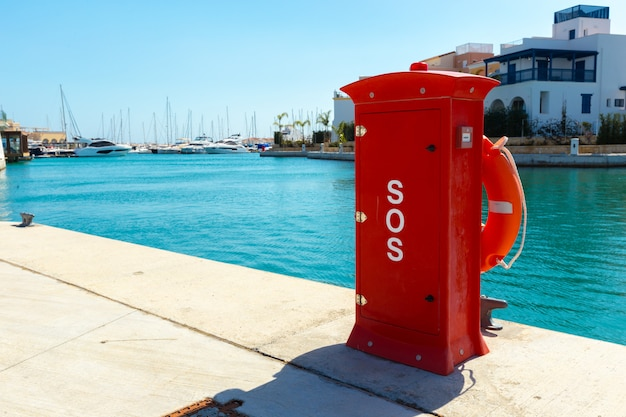 Fire hydrant. fire protection in the port. Premium Photo