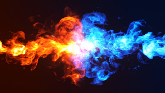 Fire and ice concept 3d illustration. Premium Photo