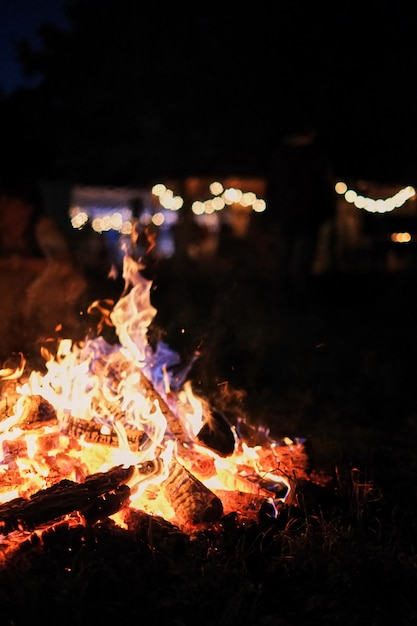 Fire in nature . bokeh from the fire . blurred backgrounds . Premium Photo