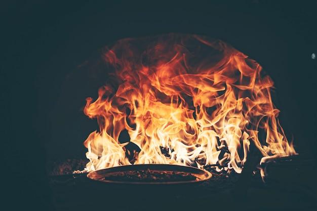 Fire in a pizza oven Premium Photo