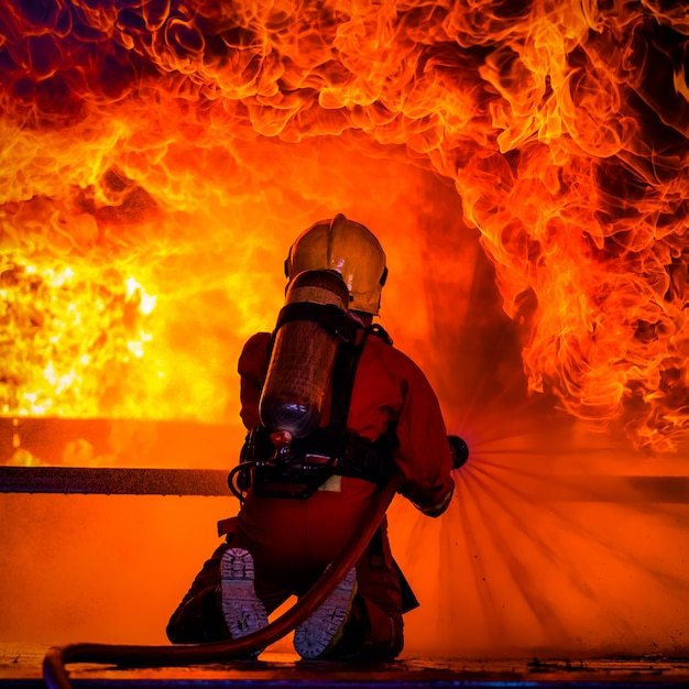 Fire and rescue training school regularly to get ready Premium Photo
