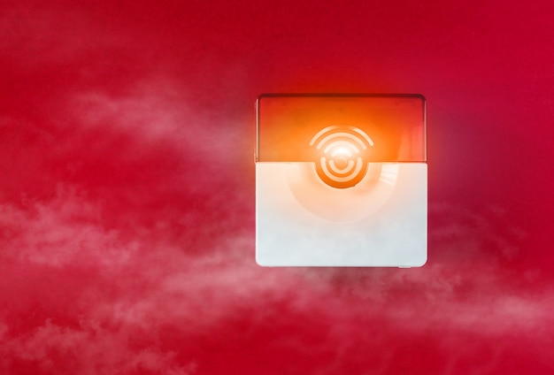 Fire safety system on a red background Premium Photo