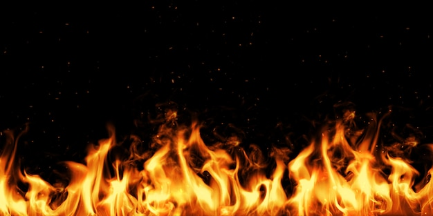 Fire wall and spark with black. 3d illustration. Premium Photo