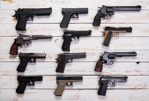 Firearms set. guns Premium Photo