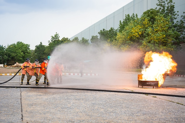 Firefighters attack fire during a training exercise. Premium Photo