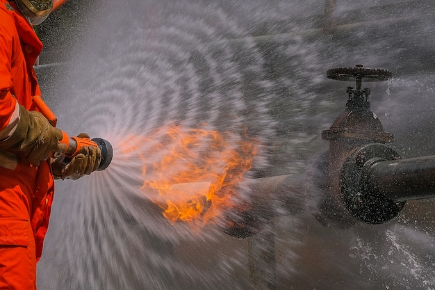 Firefighters training for a emergency situation Premium Photo