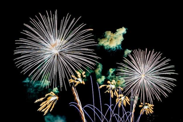 Firework on blank night sky, show for celebration Free Photo