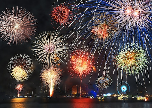 firework for happy new year from thailand premium photo