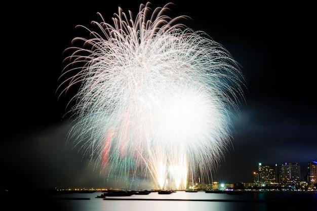 Firework with beautiful at sea. Premium Photo