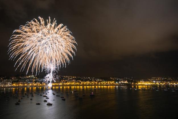 Fireworks exhibition at the beach Premium Photo