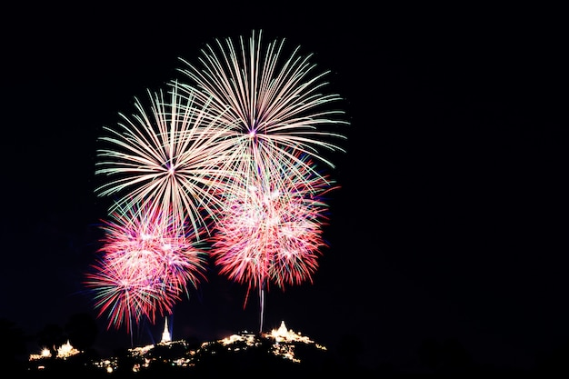 Fireworks and fireworks in celebration of new year's day. Premium Photo