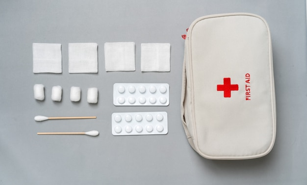 First aid kit from the top view Premium Photo
