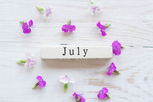 First day of july, colorful background with calendar and pink flowers Premium Photo