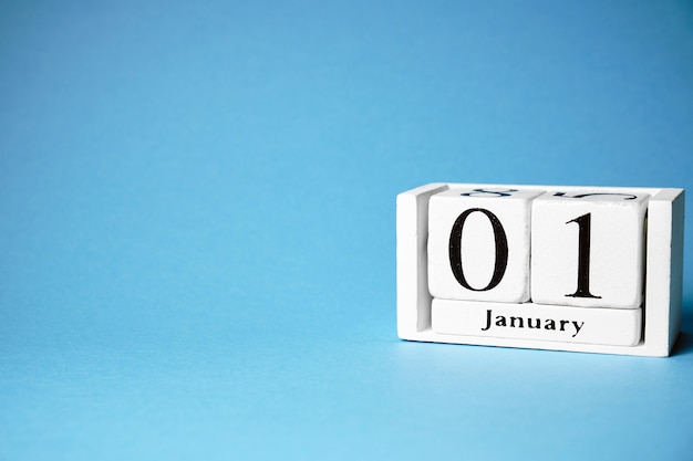 First day of winter month calendar january with copy space. Premium Photo