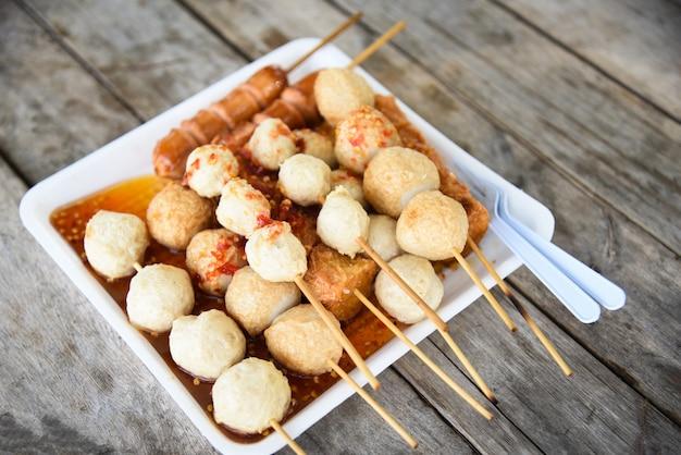Fish ball and sausage hotdog grilled Premium Photo