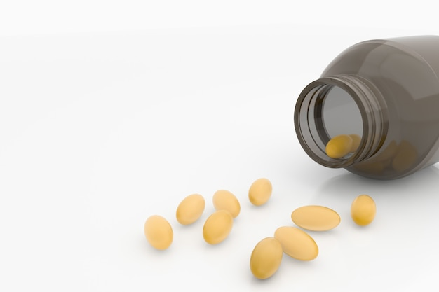 Fish oil capsules, medicine, healthy life style. Premium Photo