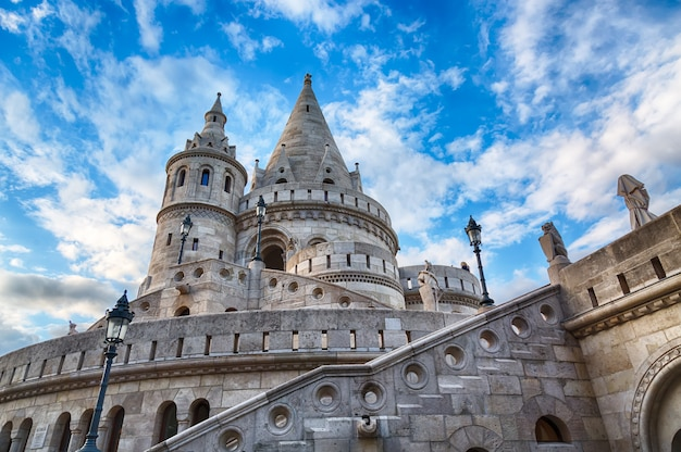 Fishermen's bastion in budapest with blue sky and clouds Premium Photo