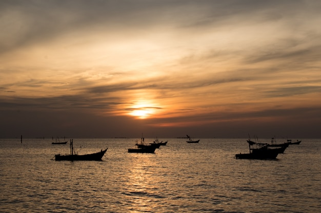 Fishing boats are out hunting. Premium Photo