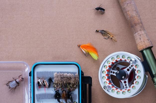 Fishing gear. fishing rod, reel, bait Premium Photo