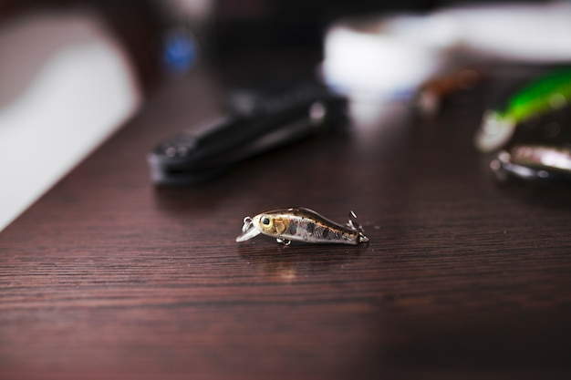 Fishing lure on wooden background Free Photo
