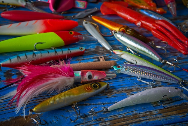 Fishing lures tackle collection minnows Premium Photo