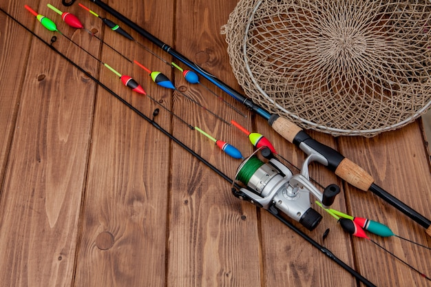 Fishing tackle - fishing rod fishing float and lures on ...