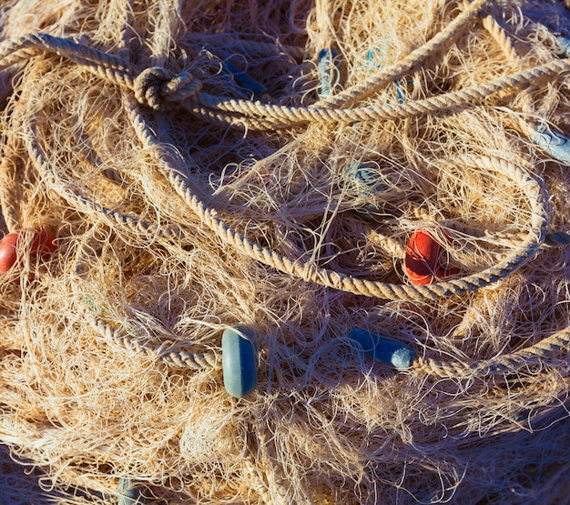 Fishing trammel net tackle texture in gandia port Premium Photo