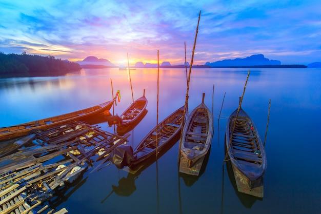 Fishing village and sunrise at samchong-tai, phangnga, thailand Premium Photo