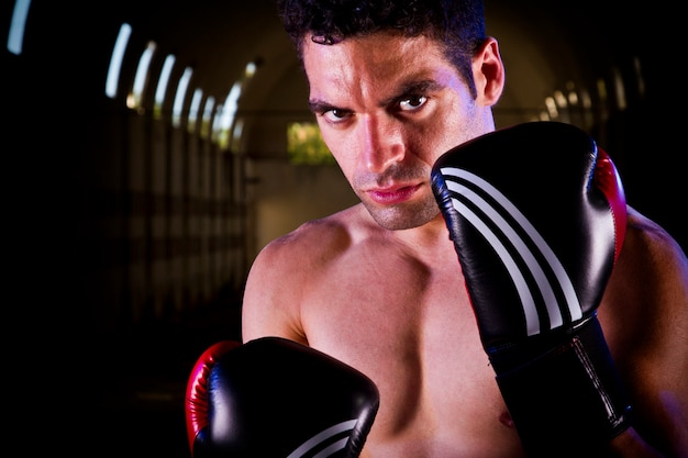 Fit fighter with boxing gloves Premium Photo