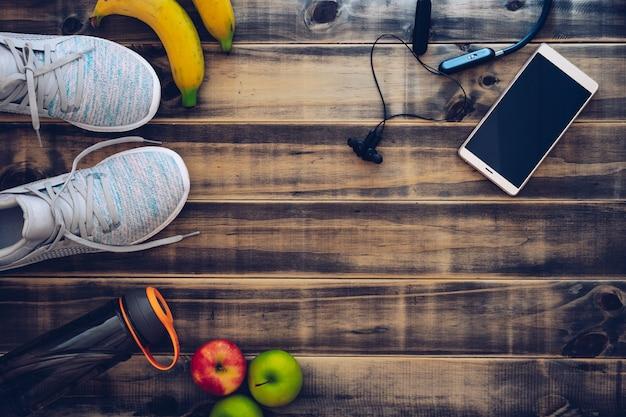フィットネスや健康的なアクティブなライフスタイルの背景のコンセプト。 Premium写真